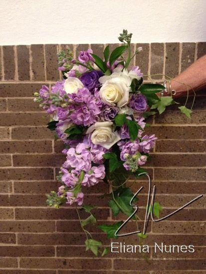 Wedding Florists Winston Salem NC, Lavender Stock and White Roses Wedding Bouquet