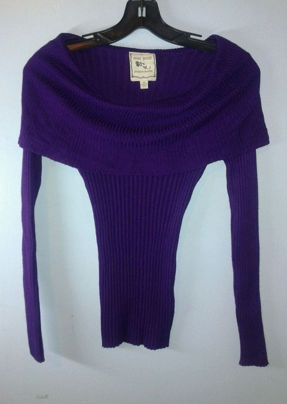 Womans Size M Purple Sweater Pink Rose Figure Fitting 120951 Free ...