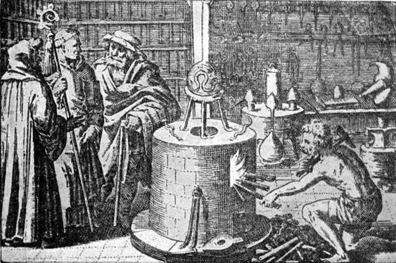 Un laboratorio alquímico, de La historia de la alquimia y los comienzos de la química