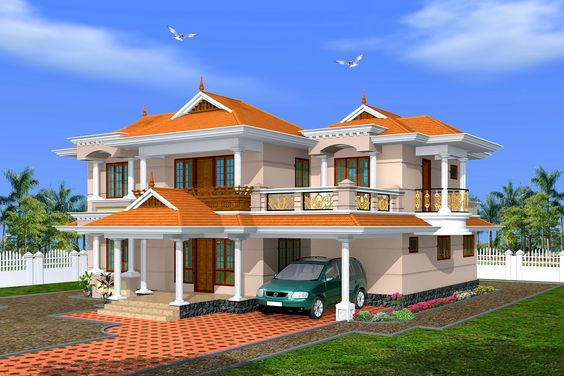 Creative exterior design attractive kerala villa design s for Villa exterior design ideas