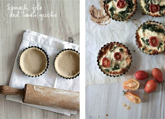 Little upside-down cake: Spinach, feta and tomato quiche