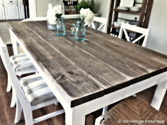 Like the colors of this table for our farmhouse table - white on bottom, washed stain on top. Like the style of chairs, but with washable seat covers