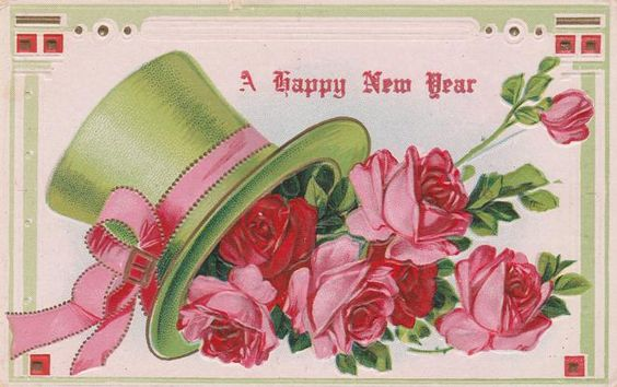 Happy New Year Greetings - Fancy Hat with Roses - Divided Back