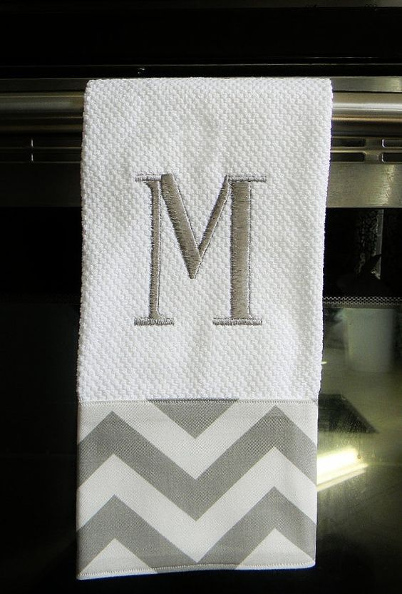 Grey And White Chevron Monogrammed Dish Towel Or Hand Towel Housewarming Gift Hostess Gift