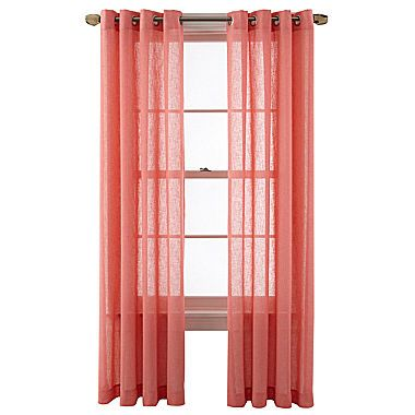 Buy Seascape Grommet Top 84-Inch Window Curtain Panel in Coral ...