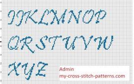 Вышивка крестом алфавит шрифт Приштина прописных букв высота 30 стежков
