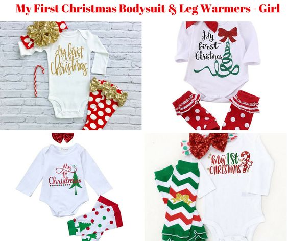 Baby Girl My First Christmas Bodysuit Leg Warmer Sets