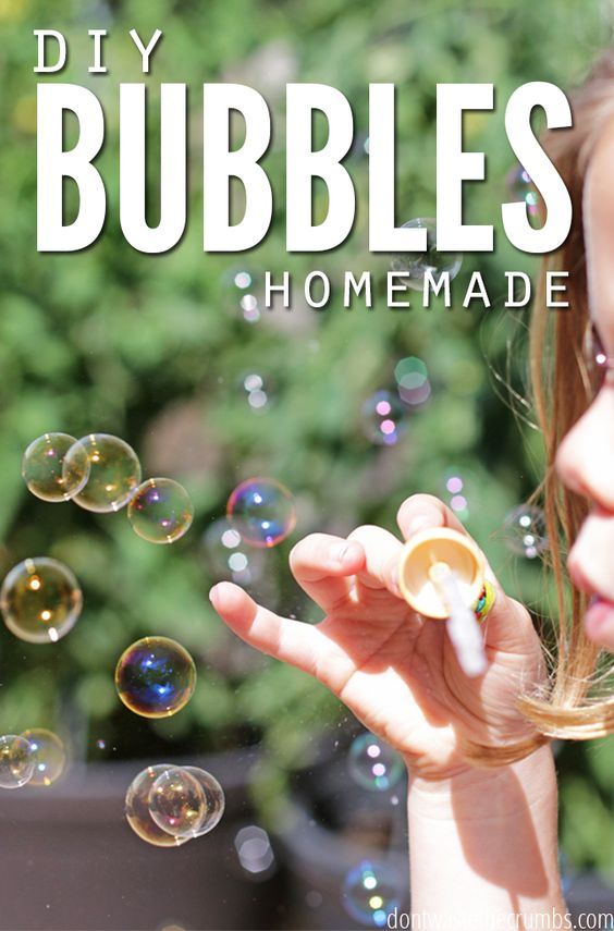 The ingredients in commercial bubbles made my son break out in rashes on his skin, so I started making my own with three simple ingredients. This easy recipe for homemade bubbles is completely safe for the kids, and uses only natural ingredients! :: DontWastetheCrumbs.com