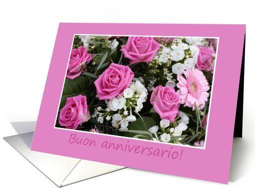 Italian wedding anniversary card, rose bouquet card