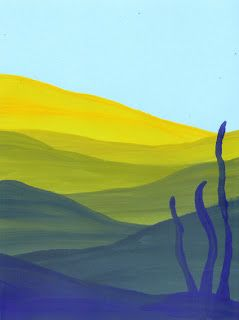 Ideas For Children's Art Lessons: Blue and Yellow Colour Mixing Landscape