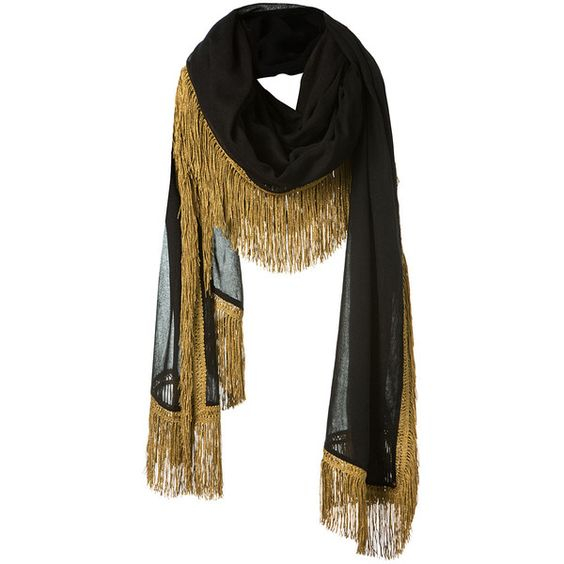 Saint Laurent Gold Fringed Black Wool Scarf (4650 QAR) ❤ liked on Polyvore featuring accessories, scarves, woolen scarves, fringed shawls, gold scarves, fringe scarves and gold shawl