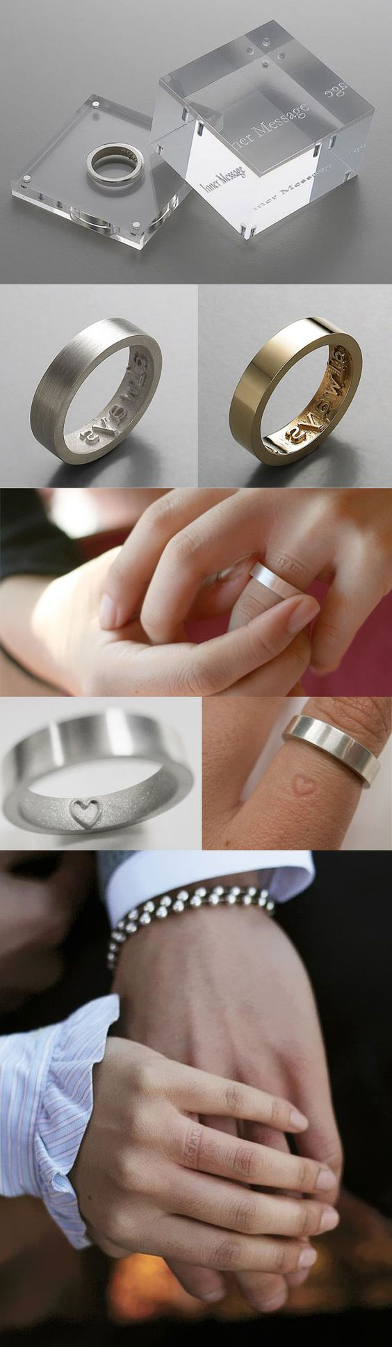 Yoon Jung Yun wedding/engagement rings. Awesome hidden message that gets imprinted onto your finger!