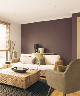 Mauve feature walls and brown on pinterest for Living room ideas dulux