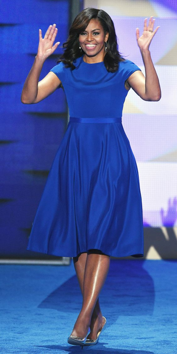 Look of the Day - Michelle Obama in Christian Siriano at the Democratic National Convention from InStyle.com