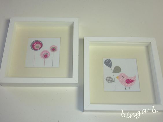 Dekoration - ♥Stoffbilder-SET-Blumenwiese&Piepmatz♥ - ein Designerstück von binga-b bei DaWanda