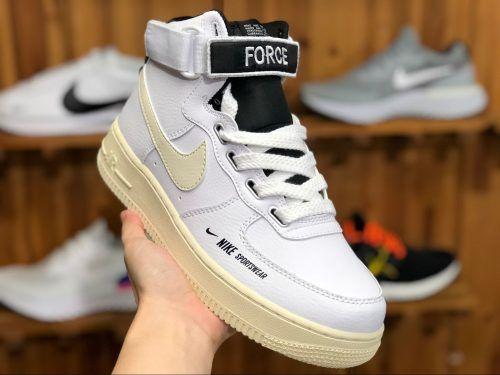 2018 Nike Air Force 1 High Utility White Light Cream Black