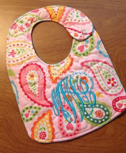 In The Hoop Quilted Baby Bib Digital File For Embroidery