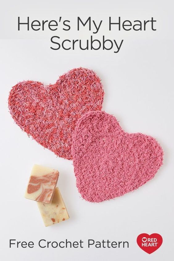 Here's My Heart Scrubby free crochet pattern in Scrubby Cotton yarn. Crochet heart scrubbies for those you love! They will enjoy the texture when bathing or washing their face. They're easy to keep clean and fresh; just wash by machine.