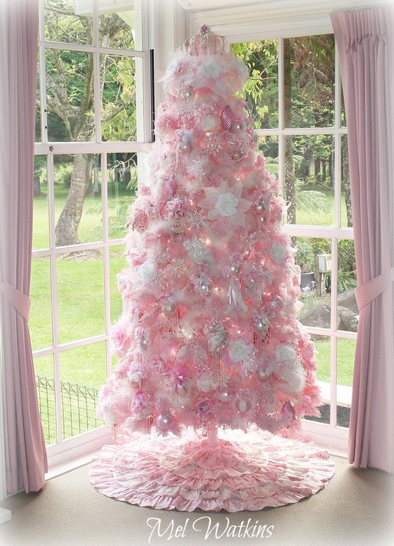 My large Shabby chic Pink Christmas tree