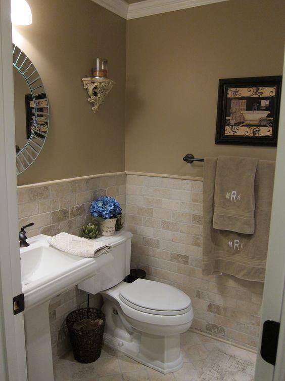 Tile bathroom renovations and bathroom on pinterest for Bathroom half wall tile