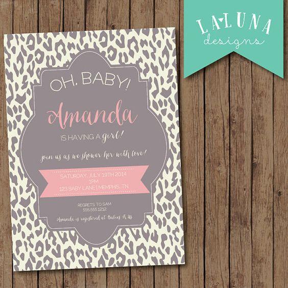 Animal Print Baby Shower Invite, Girl Baby Shower Invite, Animal Print Invitation, DIY Printable, Leopard Print on Etsy, $17.00