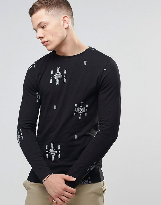 ASOS+Muscle+Long+Sleeve+T-Shirt+With+Aztec+Print