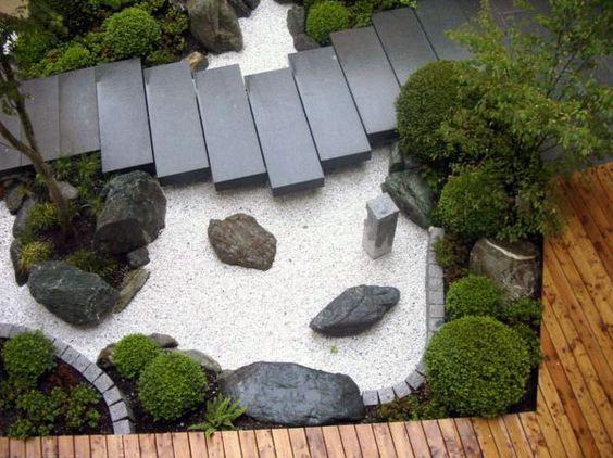 Japanese Inspired Gardens - white gravel, raised slab walkway, grey brick edging, manicured shrubs