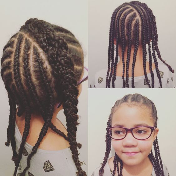 Cornrow protective style on natural hair.