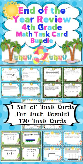 End of the Year Review: 4th Grade Math Task Cards - 120+ math task cards! This set includes 24 cards for each Common Core math domain. It also includes games and activities to go with the task cards