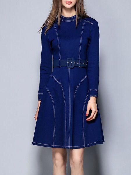 Shop Midi Dresses - Dark Blue Long Sleeve Cotton-blend Midi Dress online. Discover unique designers fashion at StyleWe.com.