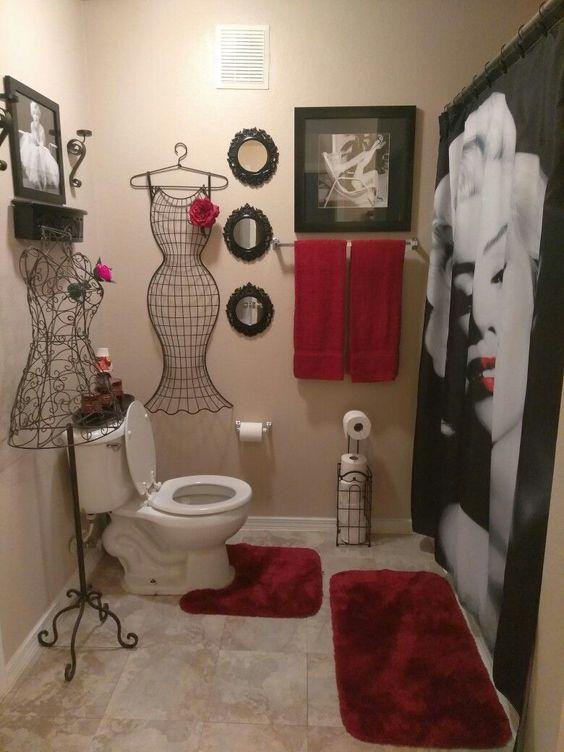 70 Most Popular Small Bathroom Designs On A Budget 2019 Red Bathroom Decor Restroom Decor Bathroom Red