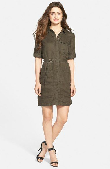 KUT from the Kloth 'Solange' Roll Sleeve Shirtdress available at #Nordstrom
