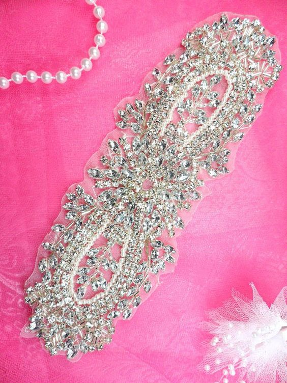 JB123 Pearl Applique Crystal Clear Silver Beaded by gloryshouse, $21.99