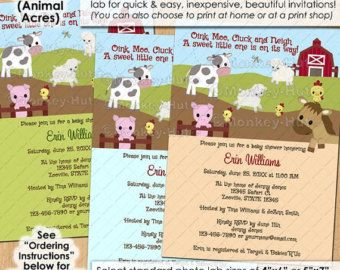 Animal Acres Farm Animal Baby Shower invitations / neutral barn barnyard cow pig sheep PERSONALIZED DIGITAL INVITATION / Design# isfa-0025