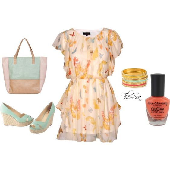 Big Butterfly Printed Dress, created by the-sea on Polyvore, cute!
