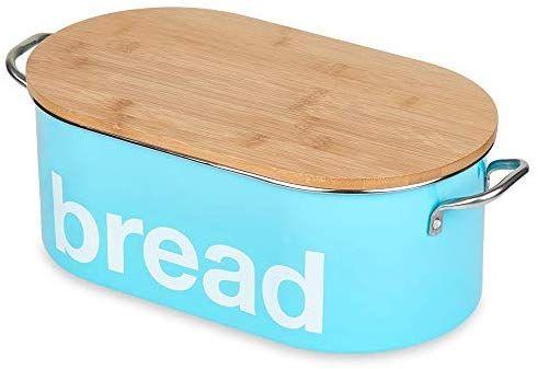 Amazon Com Bread Bin For Kitchen Counter Bread Storage Box Food Storage Container Bamboo Lid Turquoise Bread Storage Food Storage Containers Food Storage