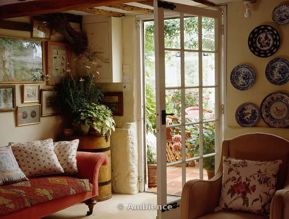 English Cottage Living Room Opening To The Garden