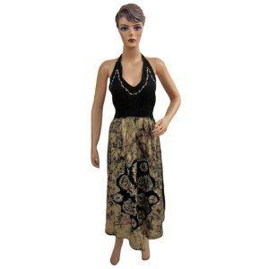 Womens Boho Designer Halter Neck Dress Black Yellow Printed Cotton Sundress (Apparel)  http://www.amazon.com/dp/B0084YB2C4/?tag=tonebe10ne-20  #AMAZING