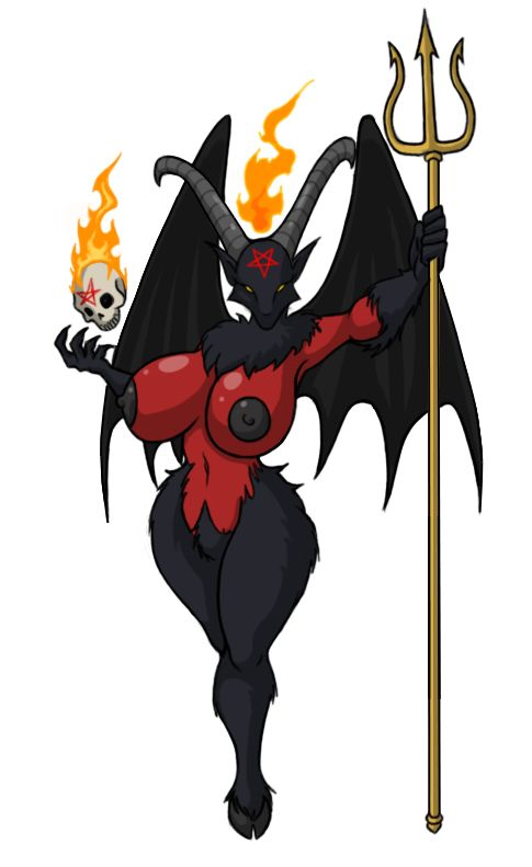 e621 baphomet big_breasts breasts demon female fire horn humanoid inverted_pentagram looking_at_viewer lordstevie melee_weapon nipples nude pentagram polearm skull solo trident weapon wings