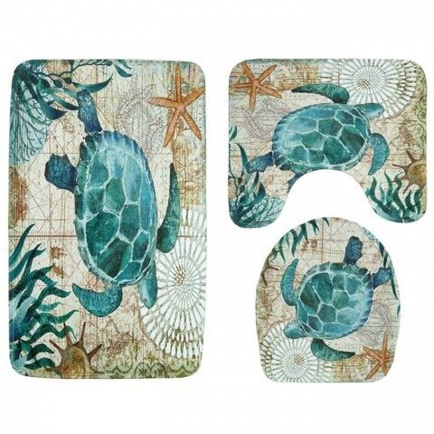 Turtle Print Toilet Mat Bathroom Anti Slip Carpet Set Patterned Bathroom Rugs Toilet Seat Lid Covers Pedestal Rug
