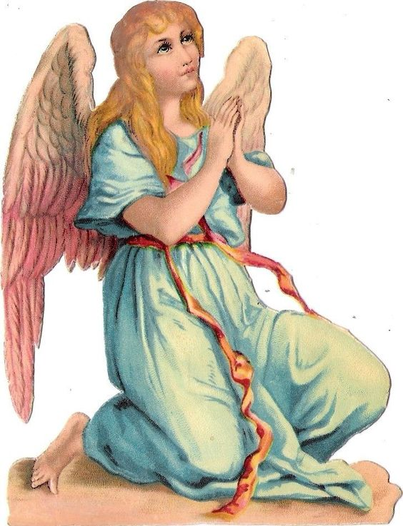 Oblaten Glanzbild scrap diecut chromo Engel  12cm angel cherub betend praying:
