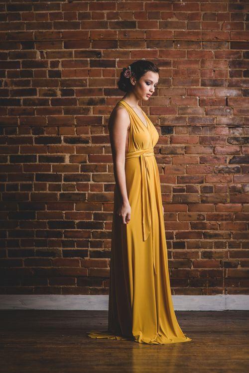 Mustard bridesmaid infinity dress by Arroh & Bow