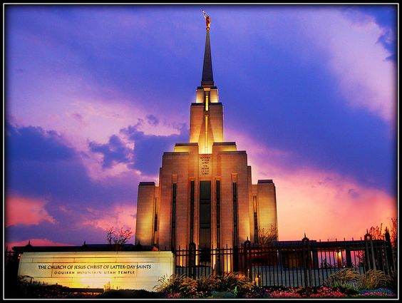 Oquirrh Mountain Temple with Signage