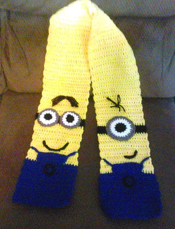 Minion Knitting Pattern : Minion inspired scarf   a crochet pattern for you Crochet projects, Crochet...
