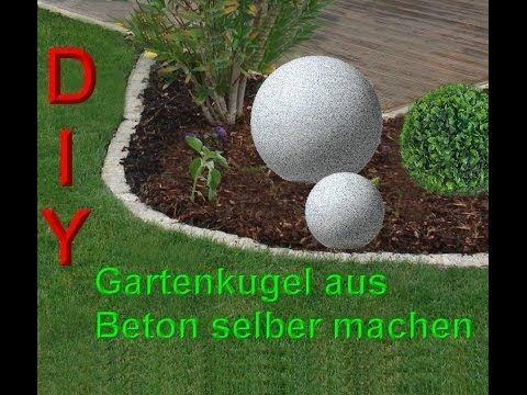 Beton giessen - DIY - Betonkugel im Ball - verbesserte Methode mit - gartendeko aus beton selbstgemacht