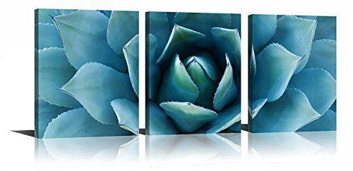 Plant Wall Art Blue Teal Agave Canvas Prints Agave Flower Https Www Amazon Com Dp B078gl1kr9 Ref Cm Sw R Pi Dp Cactus Wall Art Canvas Wall Art Plant Wall