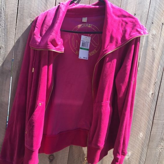 Michael Kors large Deep fuchsia velour jacket MICHAEL Michael Kors Jackets & Coats