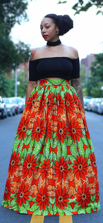 Shakara African print maxi skirt. This beautiful maxi skirt is made of 100% cotton African wax fabric. It has a gathered waist, thick waistband, zipper and flexible elastic in the back. The length is about 47 inches long and super wide. The perfect skirt to have for any and all occasions! (affiliate)