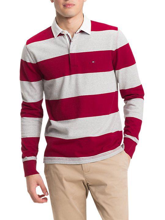 Tommy Hilfiger Iconic Stripe Rugby Shirt, RedLight Grey