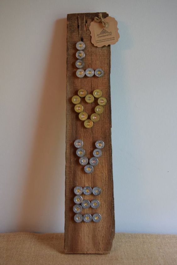 Love shotgun shell and barn wood plaque by junkerella on for Wood plaques for crafts